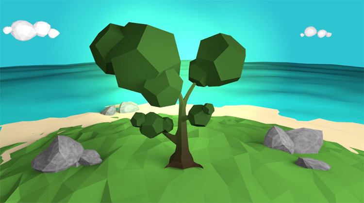 Low-poly tree in 3d