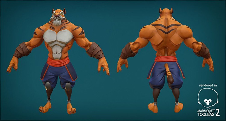 Anthro Tiger 3D Rigged Model