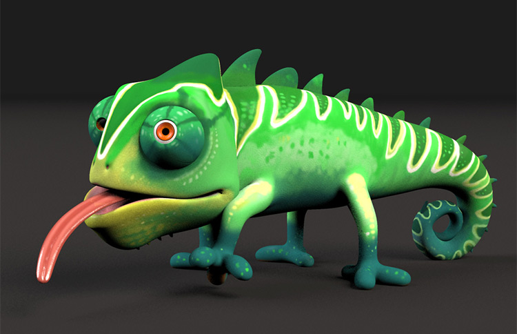 cartoon 3d chameleon rig
