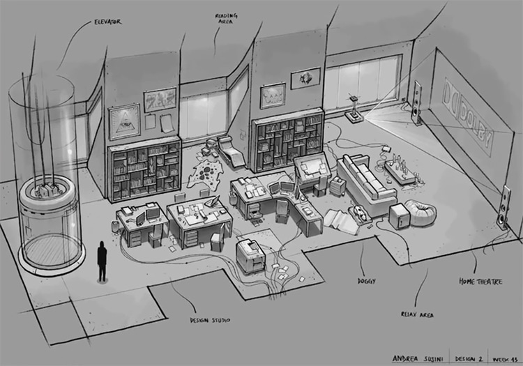 dark grey interior concept art