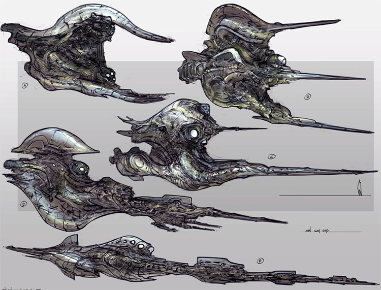 feng zhu scifi vehicle sketches paintings finished