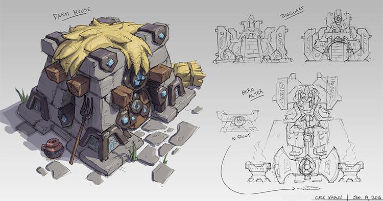 fantasy stone farm house concept art