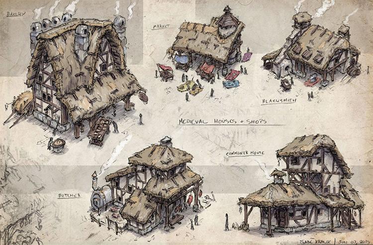medieval shops exteriors concept art
