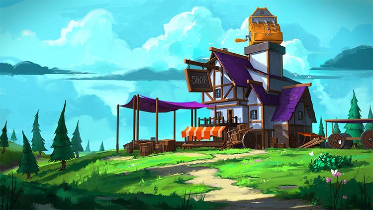 purple item shop game concept art