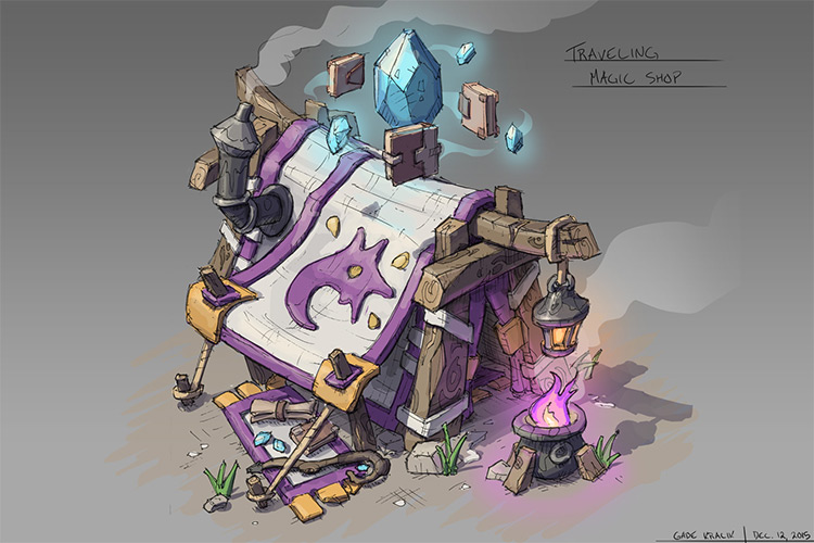 purple tent magic shop game concept