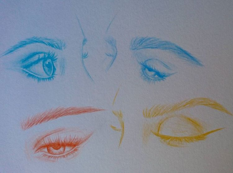 colorful eye sketches