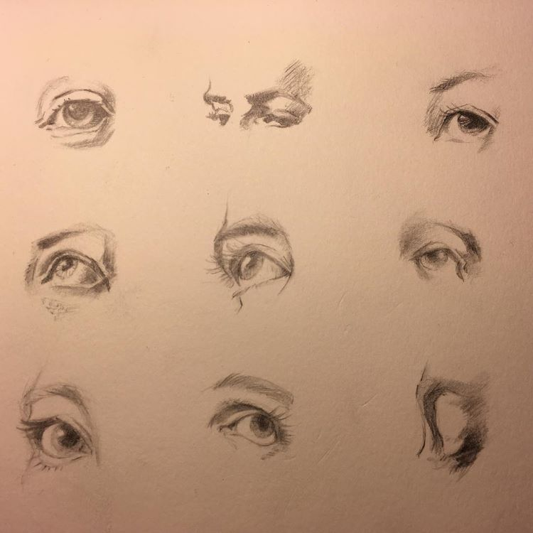 Toned paper drawing eyes