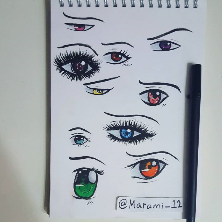 Colorful eyes drawings