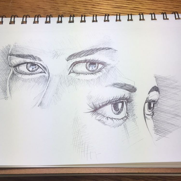 Face eyes drawings from scratch