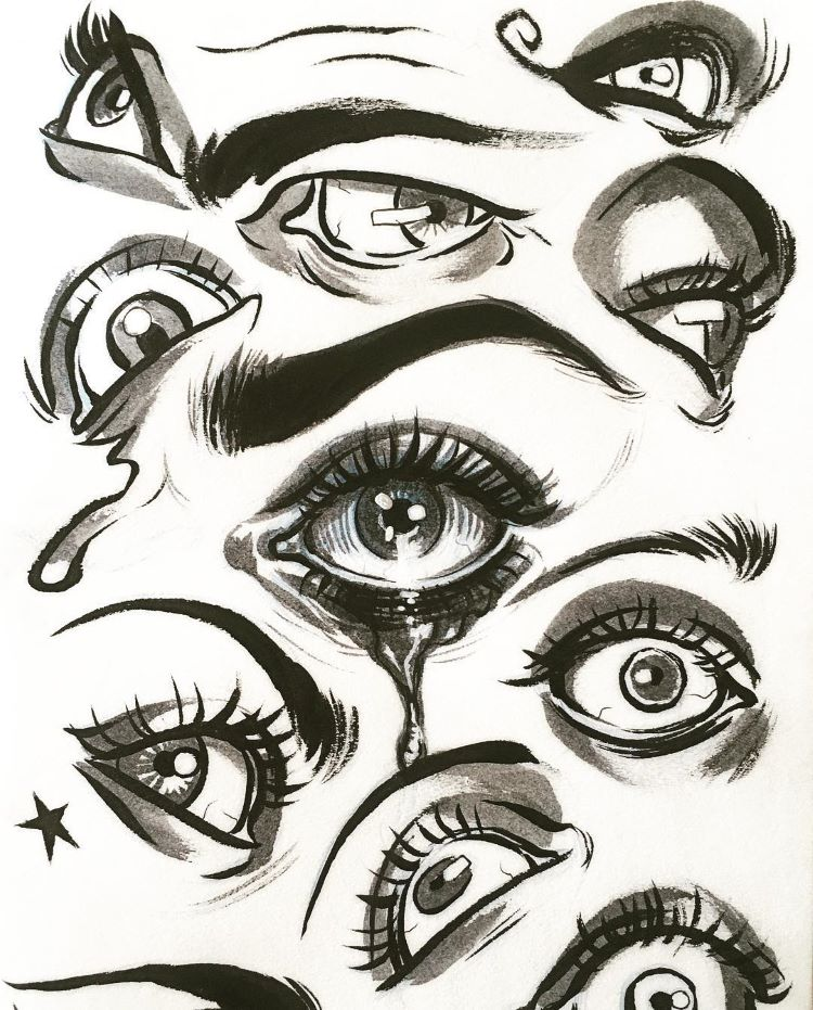Strange eyes and eyelids drawings