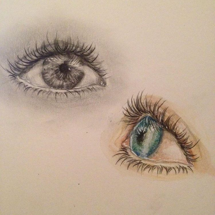 Light blue and dark eye drawings