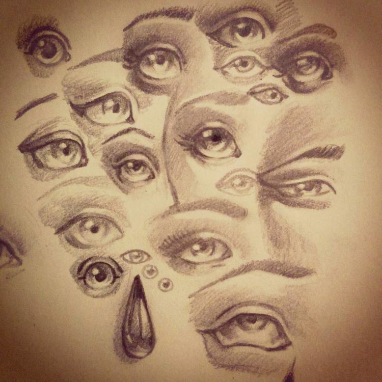 Dark human eyes in different shapes