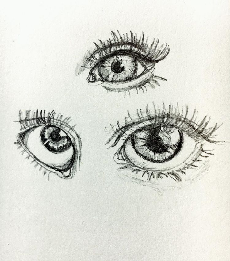 Eye pupil pencil drawing