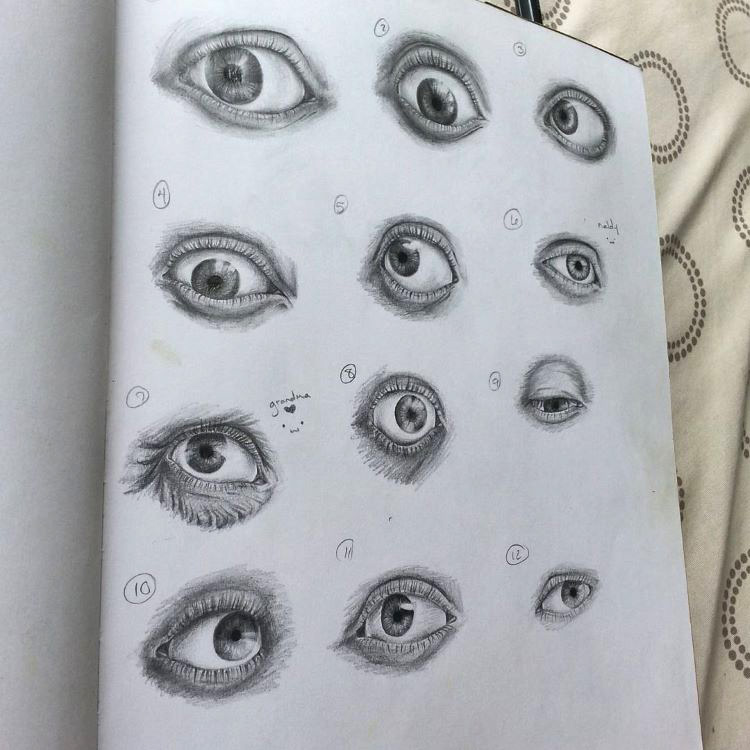 Full sketchbook page of human eyes