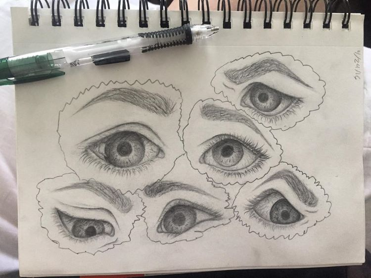 Eyeballs and eyelids - quick sketches
