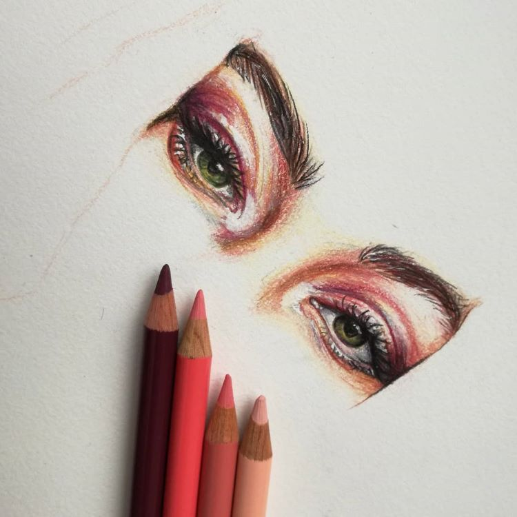 Colored pencil of eye drawing