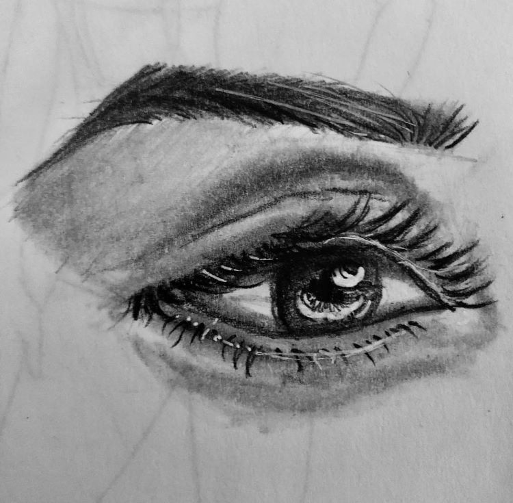 Close up drawing of eye