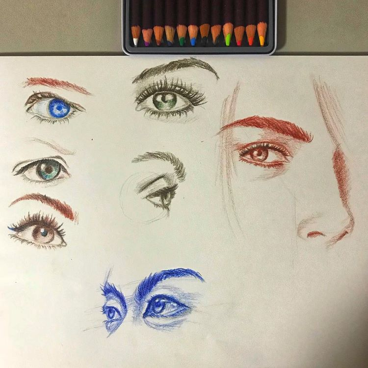 Colorful eye drawings sketched