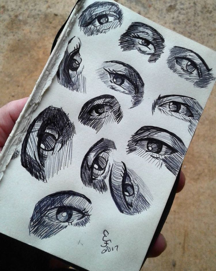 Single paper human eyes drawn