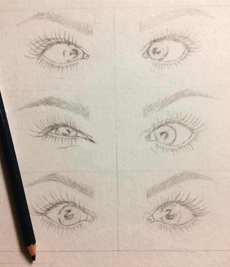 Cartoony eyes sketched out