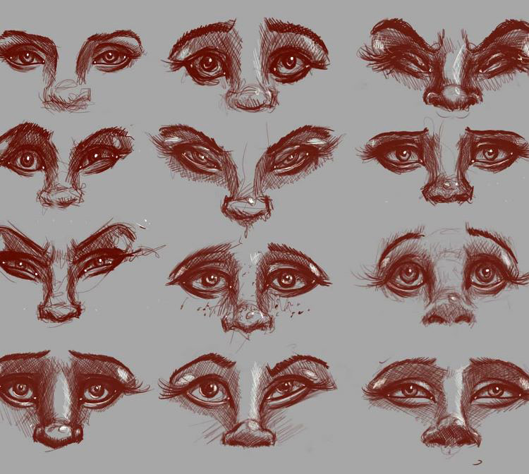 Red cartoony sketches of eyes