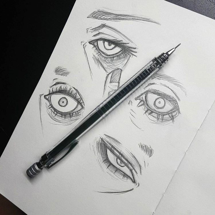 Pencil drawings of eyes