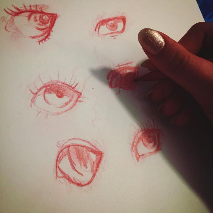 Red pencil for eye drawing