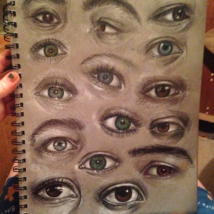 Toned brown paper eye drawings