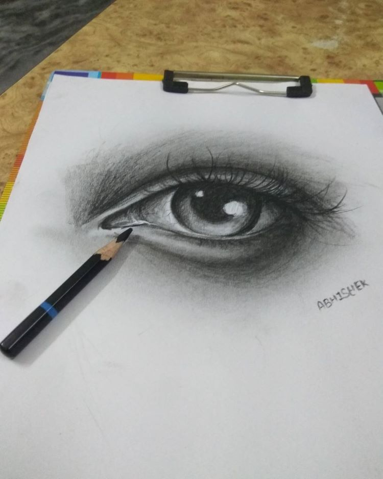Completed finished eye drawing