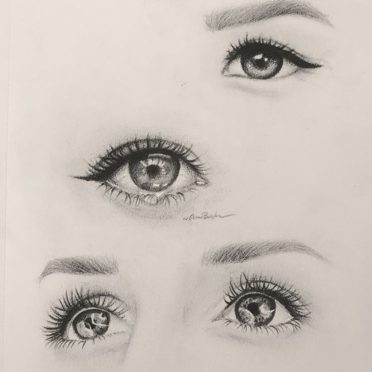 Realistic human eyes and eyelashes