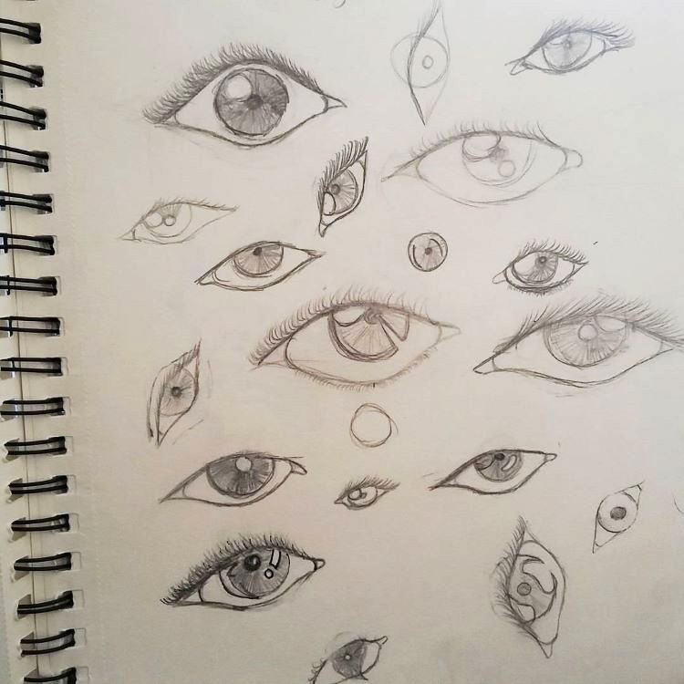 Quick sketches of flat eyes