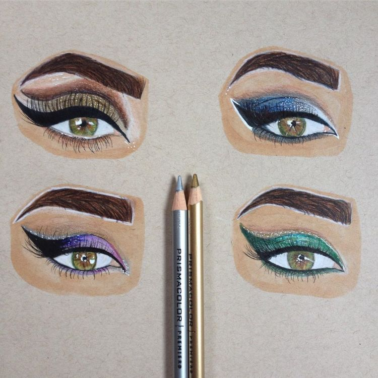 Colorful eyes drawn in detail