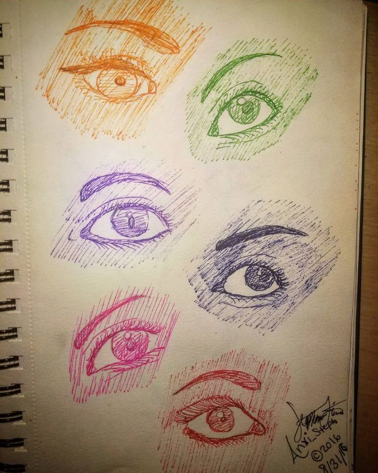 Colorful eye drawings sketchbook