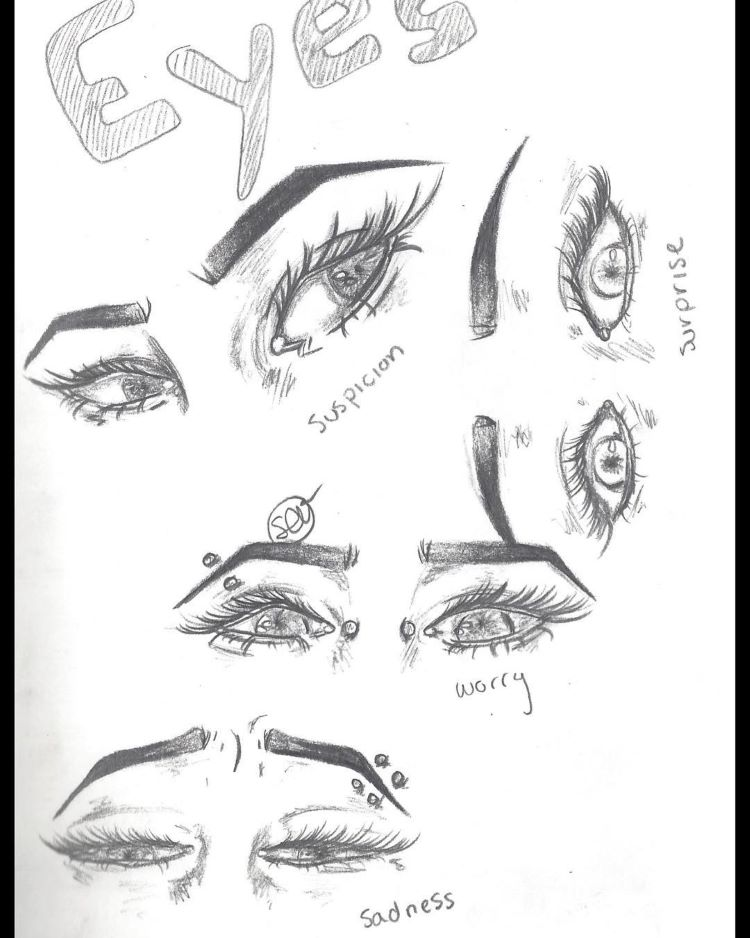 Quick white paper sketchbook of eyes