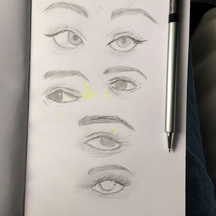 Full vertical page of eye drawings