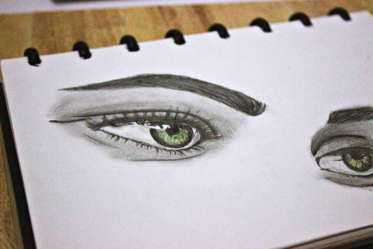 Full detail drawing of eyes and eyebrows