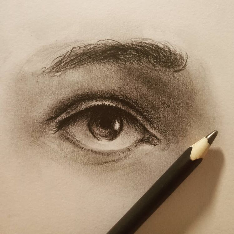 Graphite drawing of human eye