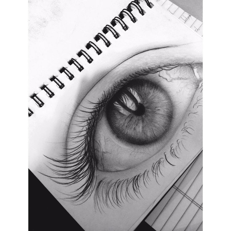 Detailed eye drawn from scratch