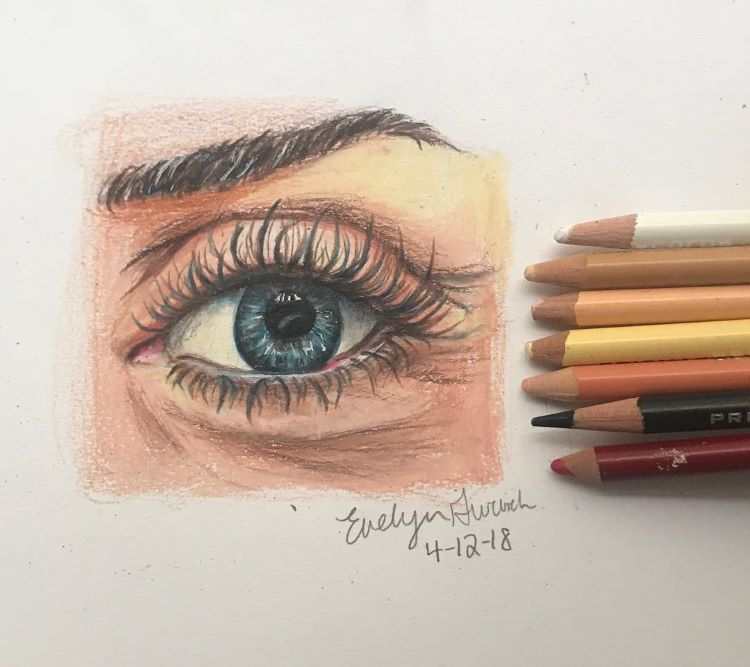 Eye drawing in colored pencil