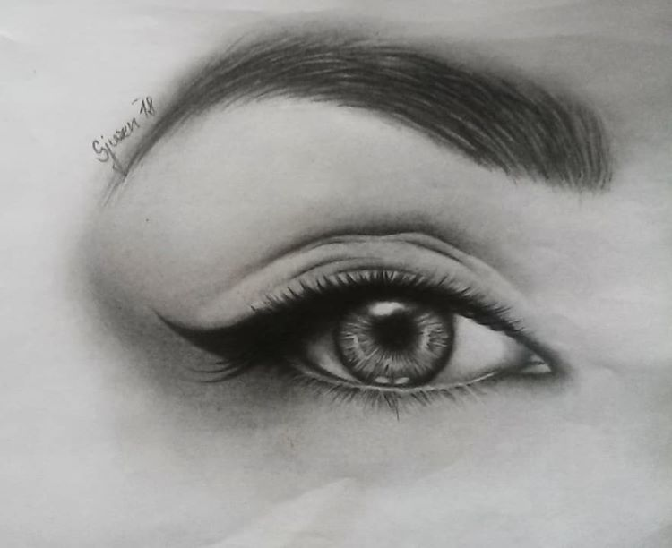 Realist drawing of eye digitally