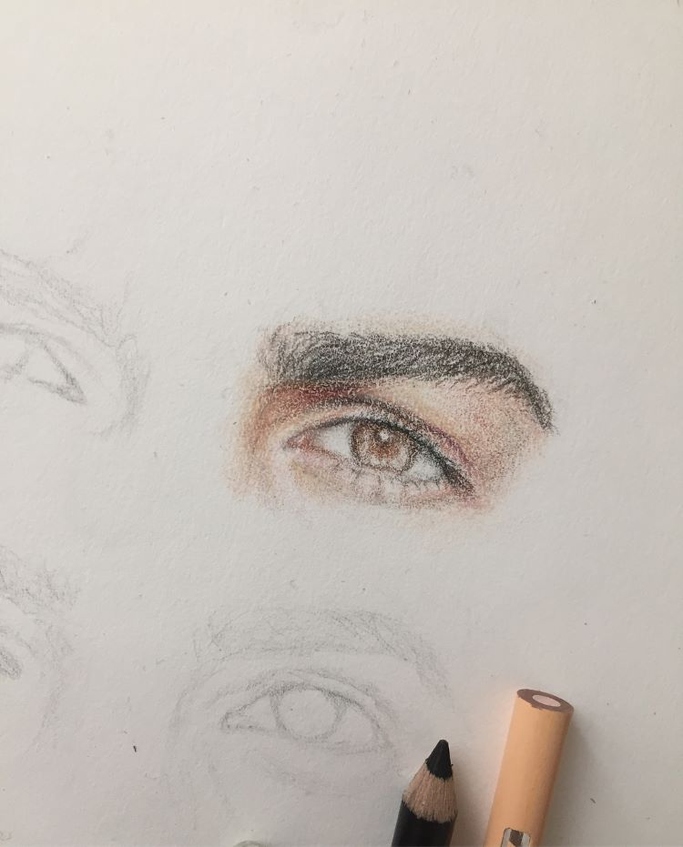 Practicing drawing and coloring eyes