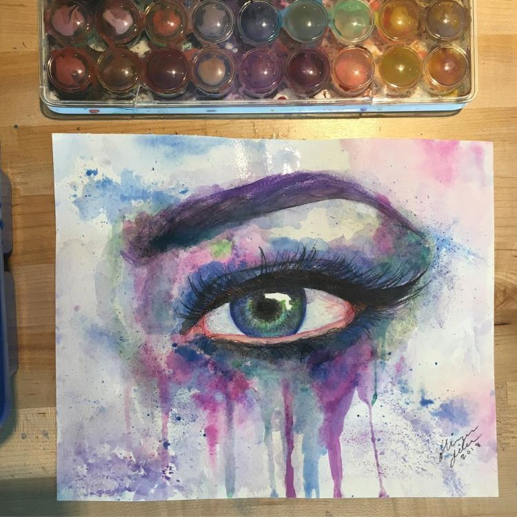 Watercolor messy eye drawing