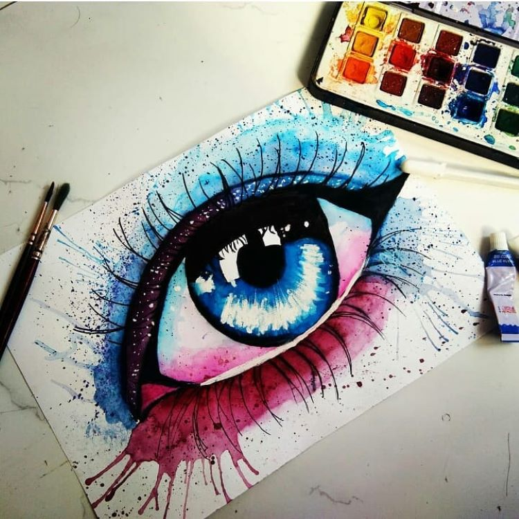 Bright colorful female eye painting