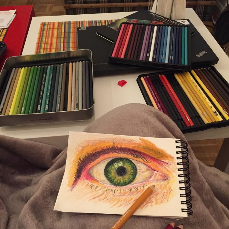 Detailed colored pencil eye drawing