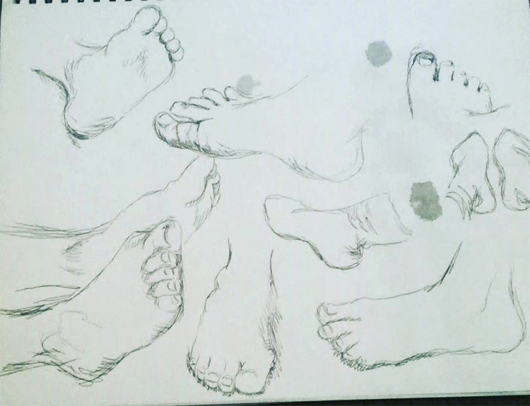 Light paper feet sketches
