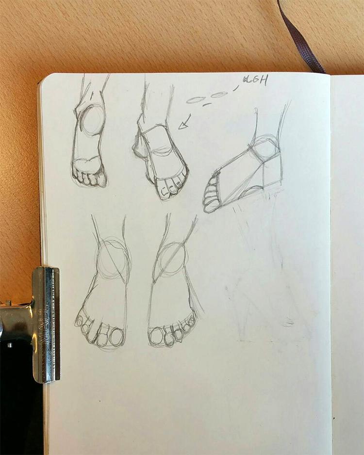 Sketchbook feet drawings example