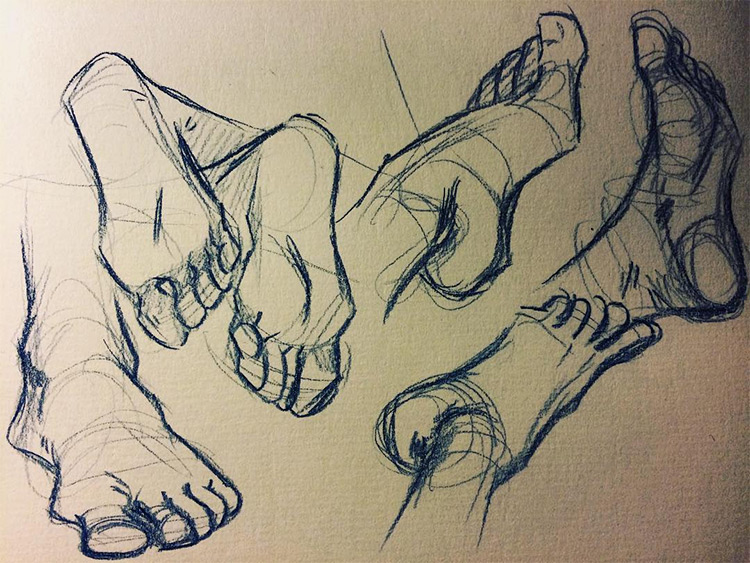 Practicing drawing feet fron angles
