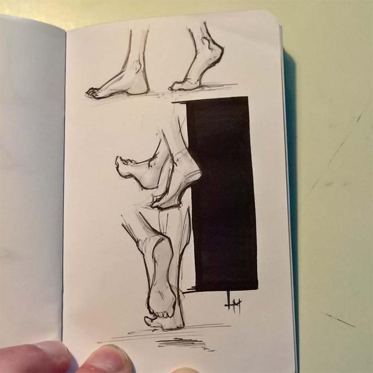 Feet drawings in motion