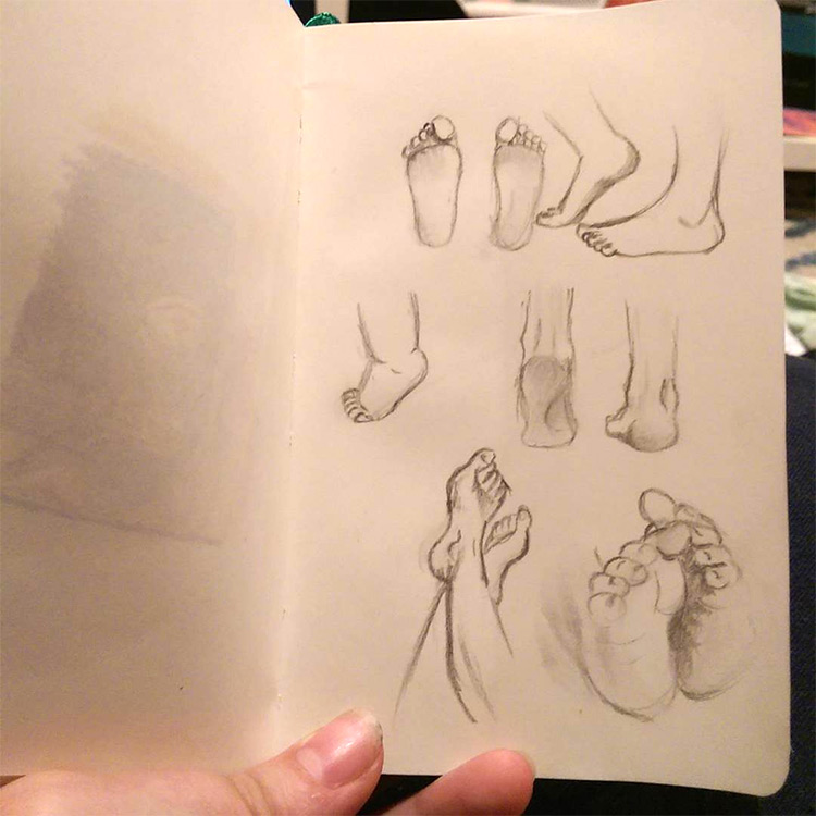 Basic feet poses drawn up close