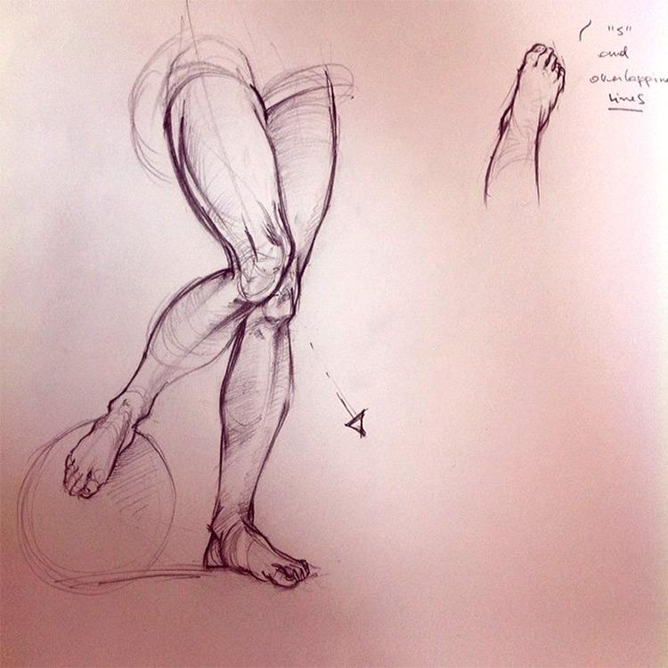 Angled feet and knee drawings